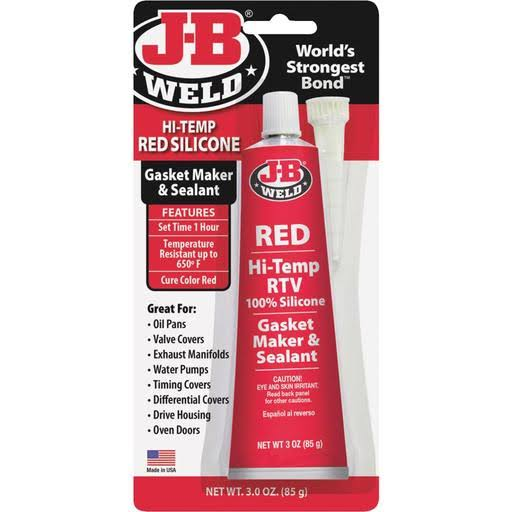 JB Weld Hi-Temp Red Silicone Gasket Maker and Sealant - 3oz