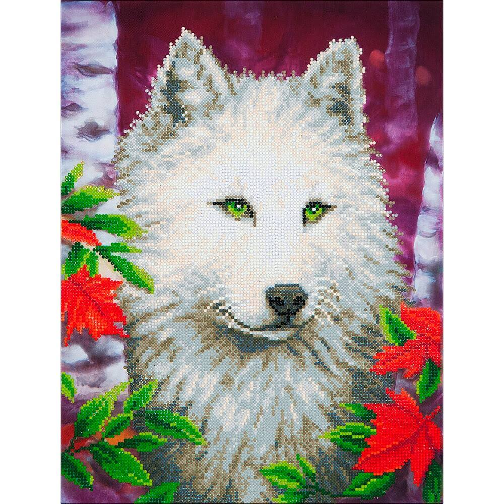 "Diamond Dotz Diamond Embroidery Facet Art Kit - White Wolf, 14"" x 18"""