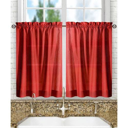 Ellis Curtain Stacey Solid Tier Curtains Red