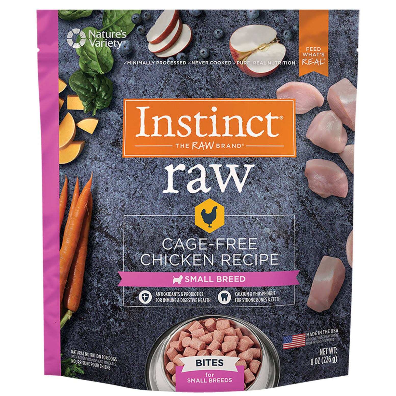 Instinct Frozen Raw Bites Small Breed Grain-Free Cage Free Chicken Recipe Natural Dog Food by Nature's Variety, 8 oz. Trial Size