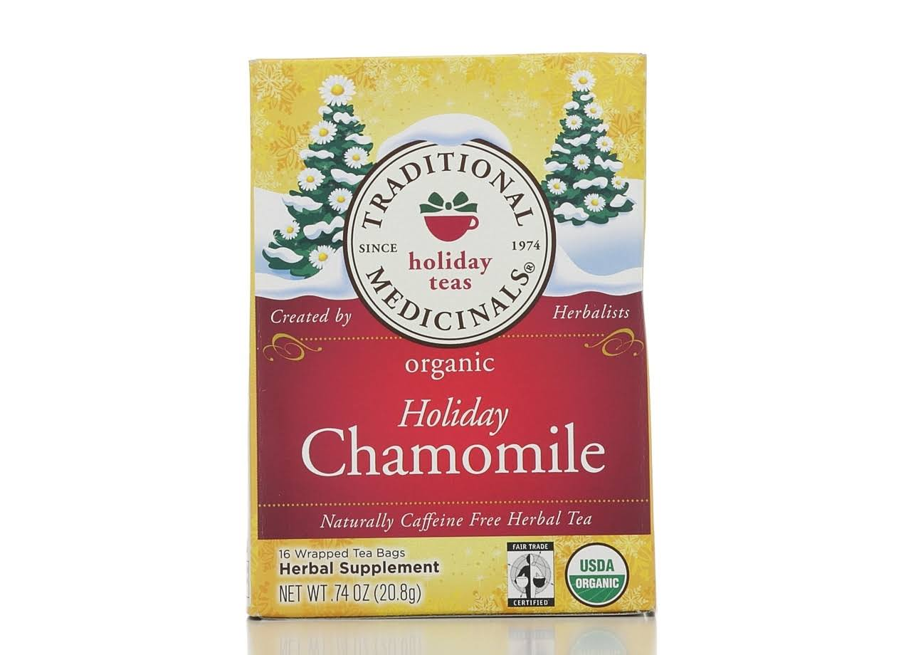 Traditional Medicinals Herbal Tea, Holiday Chamomile, Naturally Caffeine Free, Tea Bags - 16 bags, 0.74 oz