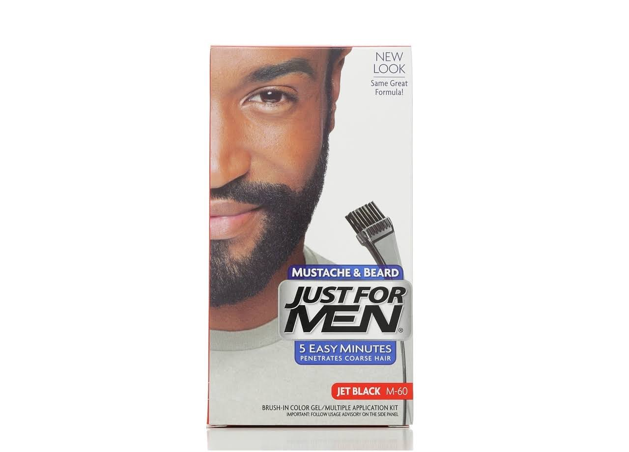 Just For Men Mustache and Beard Brush-In Color Gel - M-60 Jet Black, 0.5oz, 2ct