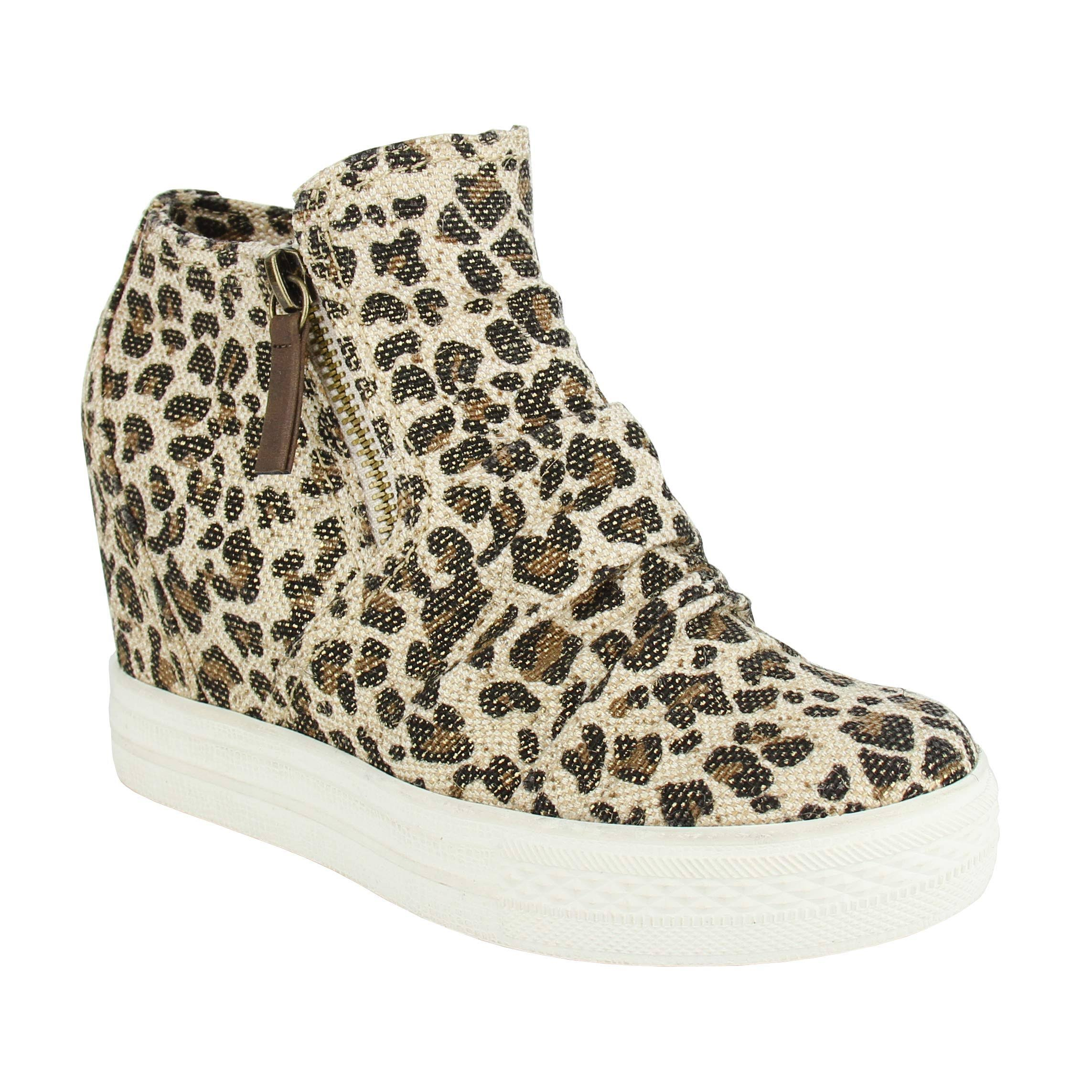 Not Rated Women's Arabelle Leopard Wedge Sneakers Sz 7