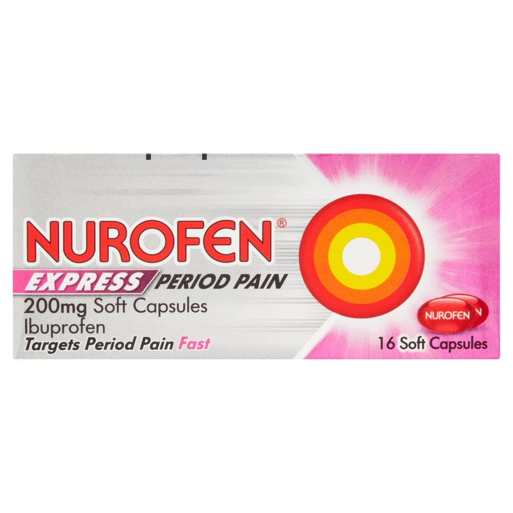 Nurofen Express Period Pain Reliever - 200mg, 16 Capsules