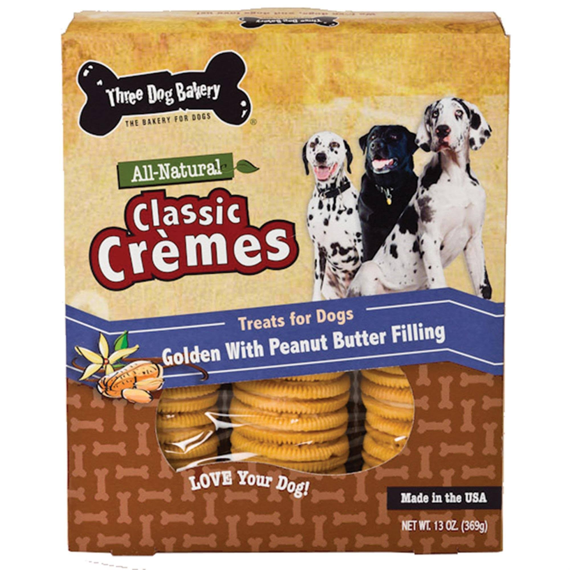 Three Dog Bakery Classic Cremes Cookie Treats for Dogs - Golden with Peanut Butter Filling