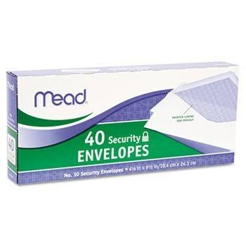 Mead Security Envelope - 4 1/8 X 9 1/2 20lb, White, 40/box,Pack of 3