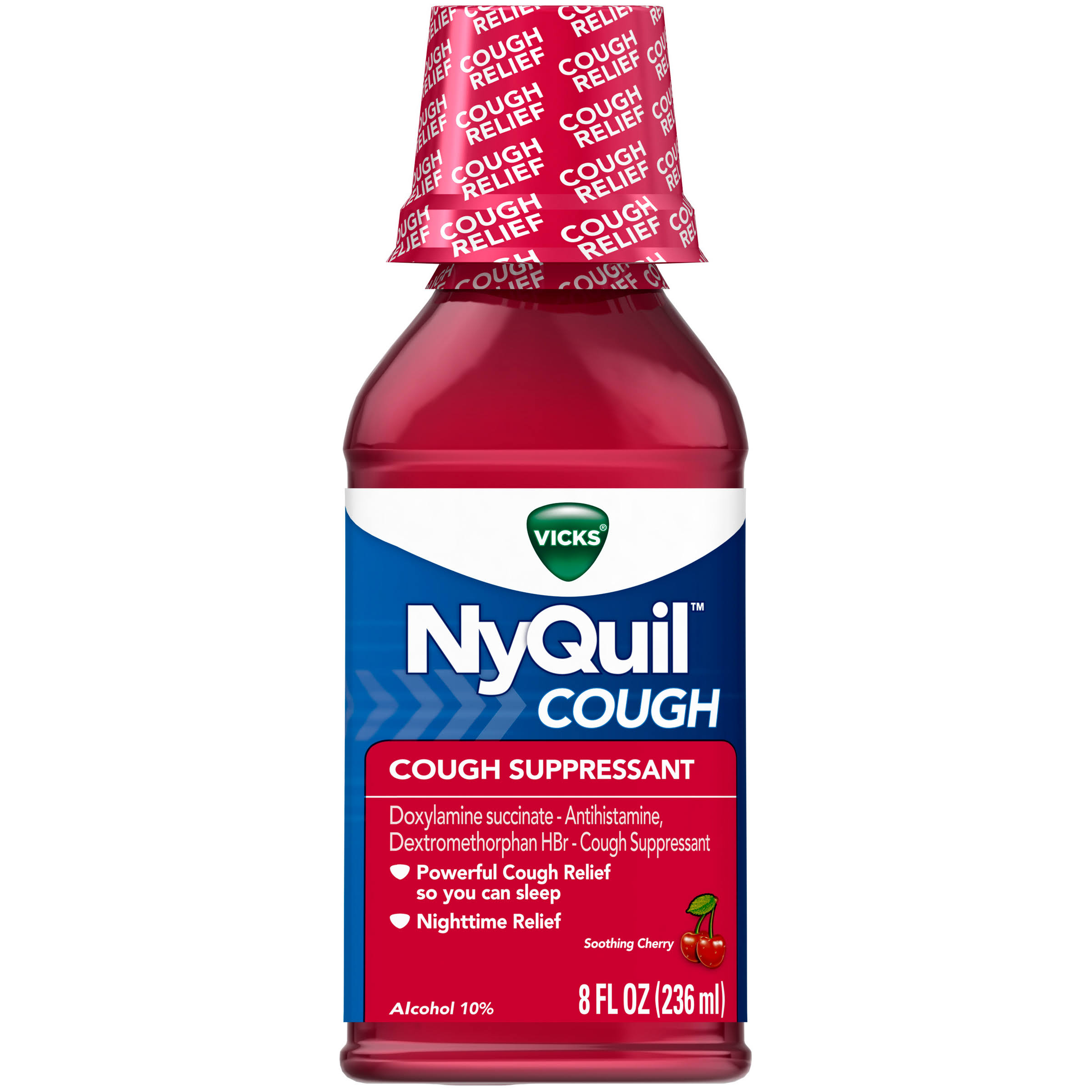 Vicks Nyquil Cough Relief Liquid - Cherry, 240ml