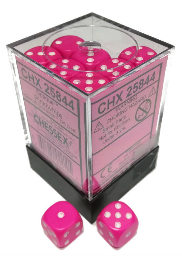 Chessex Dice: Opaque 12mm D6 Pink/White (36)