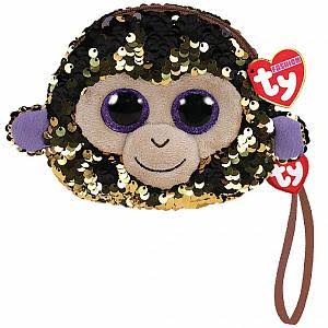 Ty Fashion Coconut Monkey Sequin Wristlet