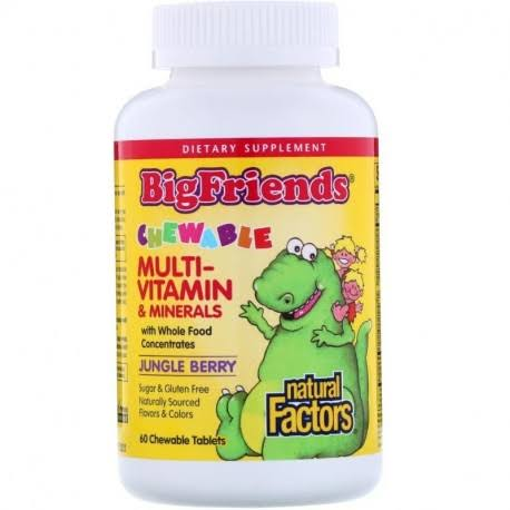 Natural Factors Big Friends Chewable Multi-Vitamin Minerals Jungle Berry 60 Chewable Tablets