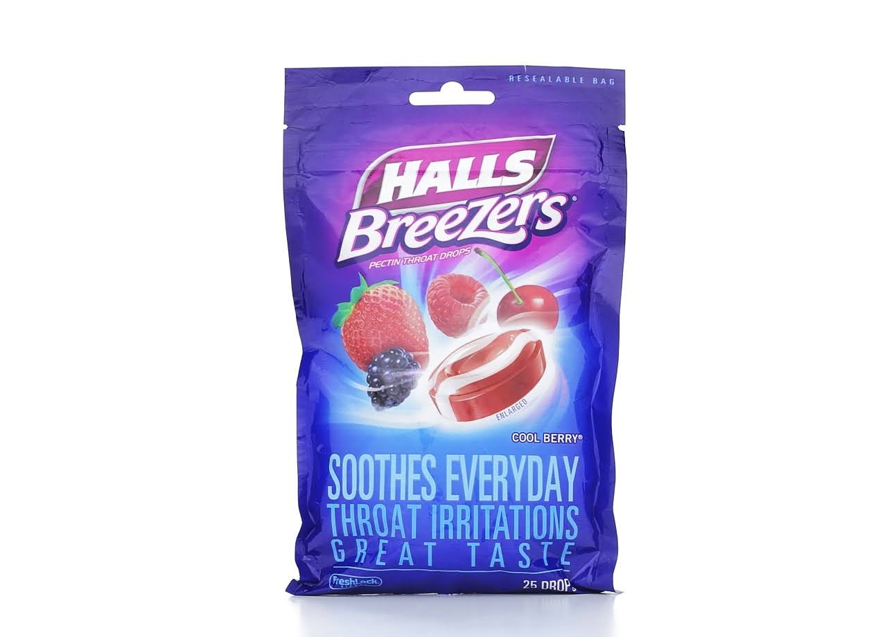 Halls Breezers Pectin Throat Drops - Cool Berry, x25