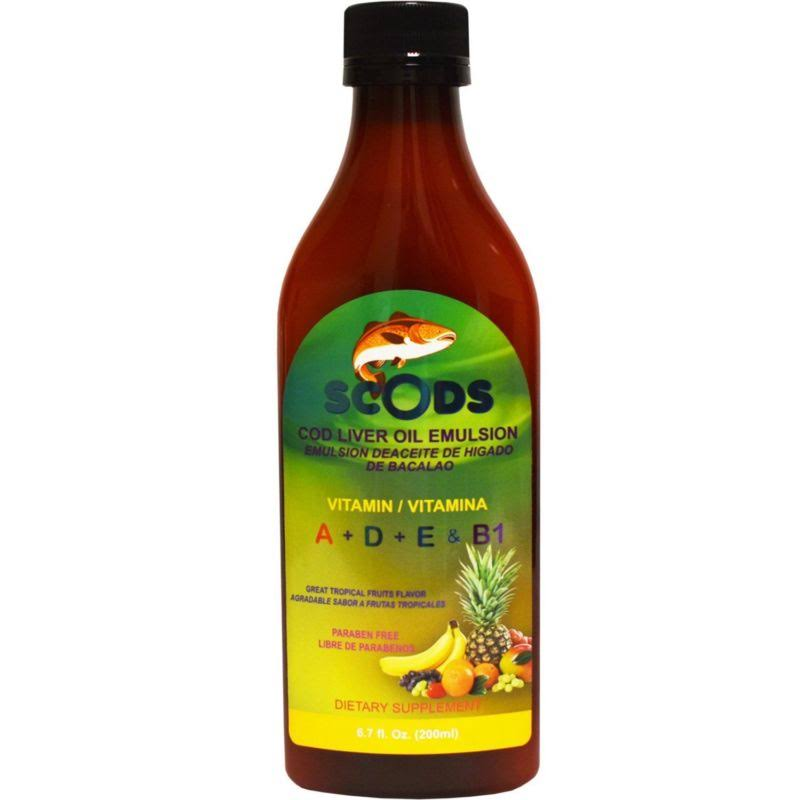 ELP Essential Emulsion de Scods Frutas Tropicales Cod Liver Oil Emulsion Tropical Fruits 200ml Vitamin A + D + E & B1