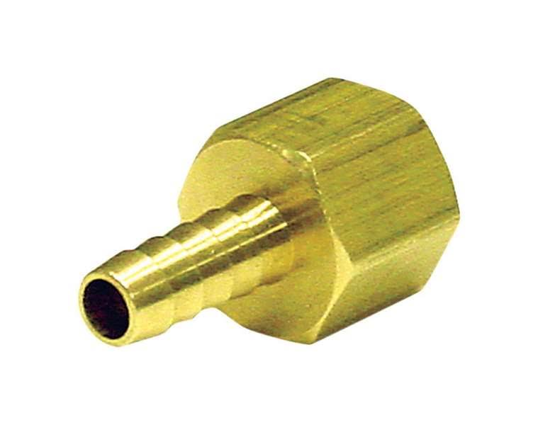 "Jmf Lead Free Hose Barb - 1/4"" X 1/4"", Yellow Brass"