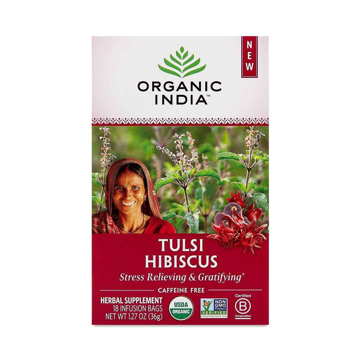 Organic India Tulsi Hibiscus, Infusion Bags - 18 bags, 1.27 oz