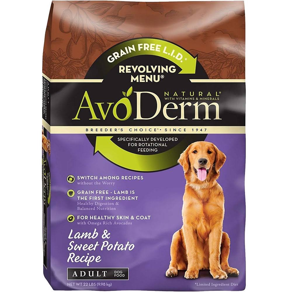 AvoDerm Natural Revolving Lamb & Sweet Potato Recipe Menu for Adult Dog - 22 lb