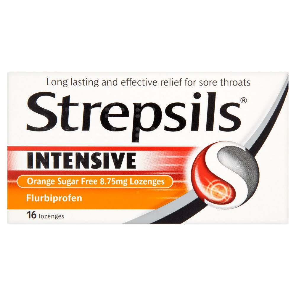 Strepsils Intensive Sugar Free Lozenges - Orange, 8.75mg, 16ct