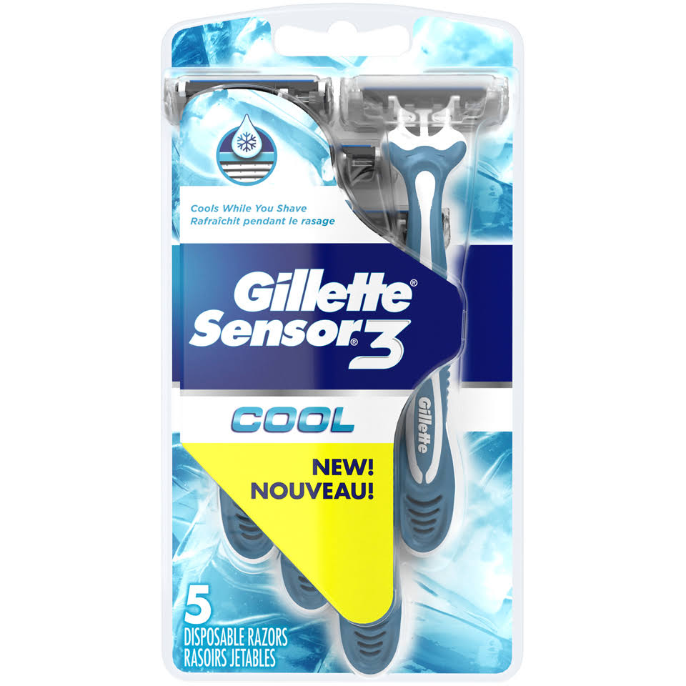 Gillette Sensor3 Men's Disposable Razor - Cool, 5ct