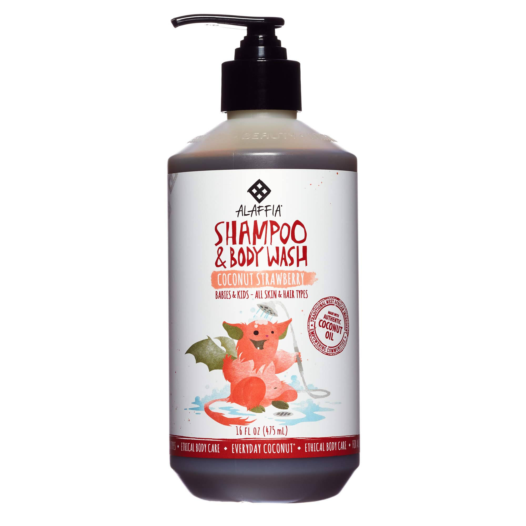 Alaffia Everyday Coconut Moisturizing Shampoo and Body Wash - Coconut Strawberry, 16oz
