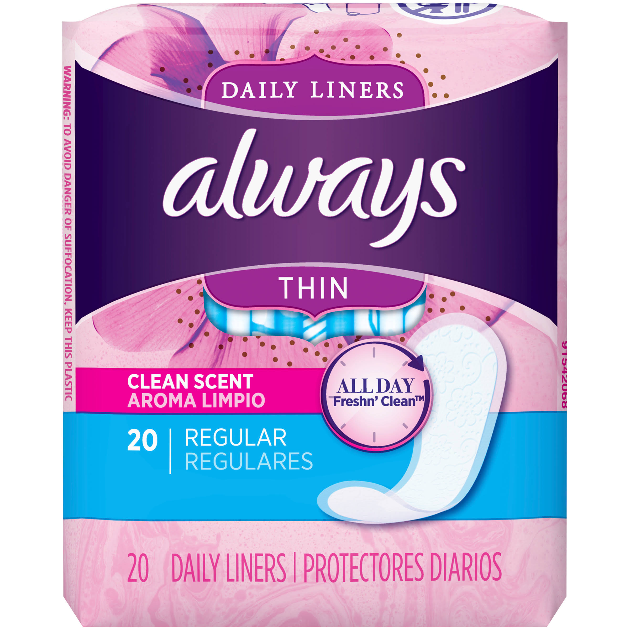 Always Thin Active Liners - Regular, Clean Scent, 20 ct