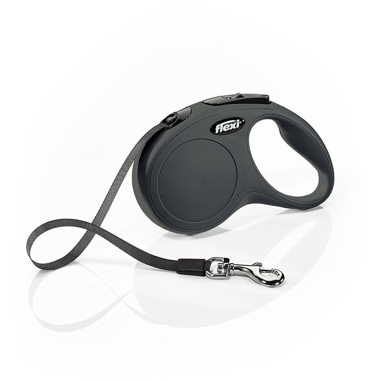Flexi New Classic Retractable Tape Dog Leash - 16', Black, Small