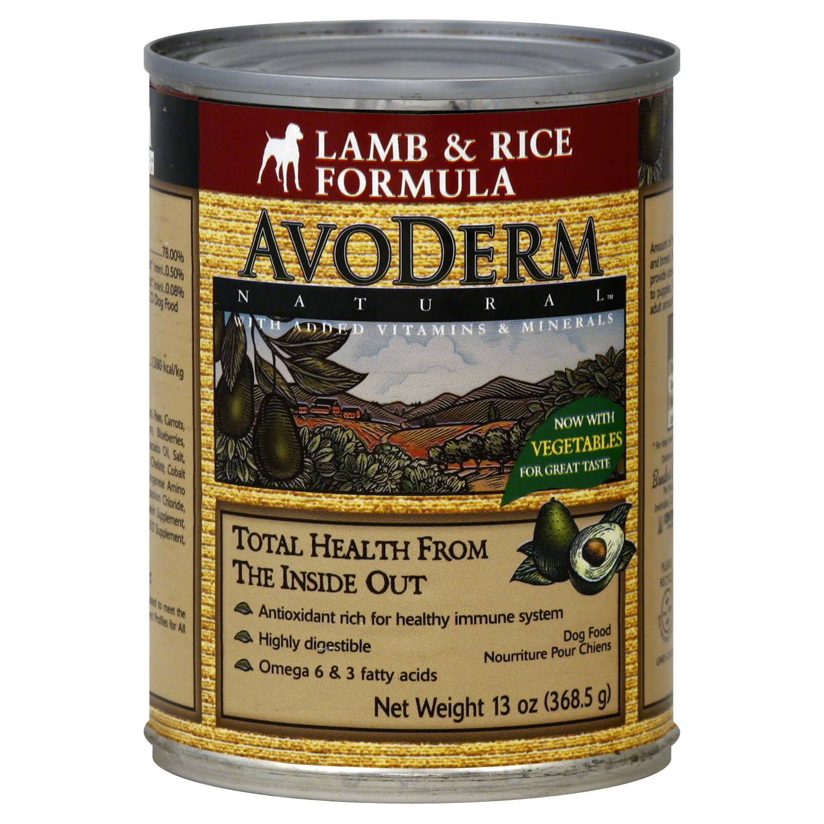 AvoDerm Natural Lamb and Rice Adult Canned Dog Food - 13oz