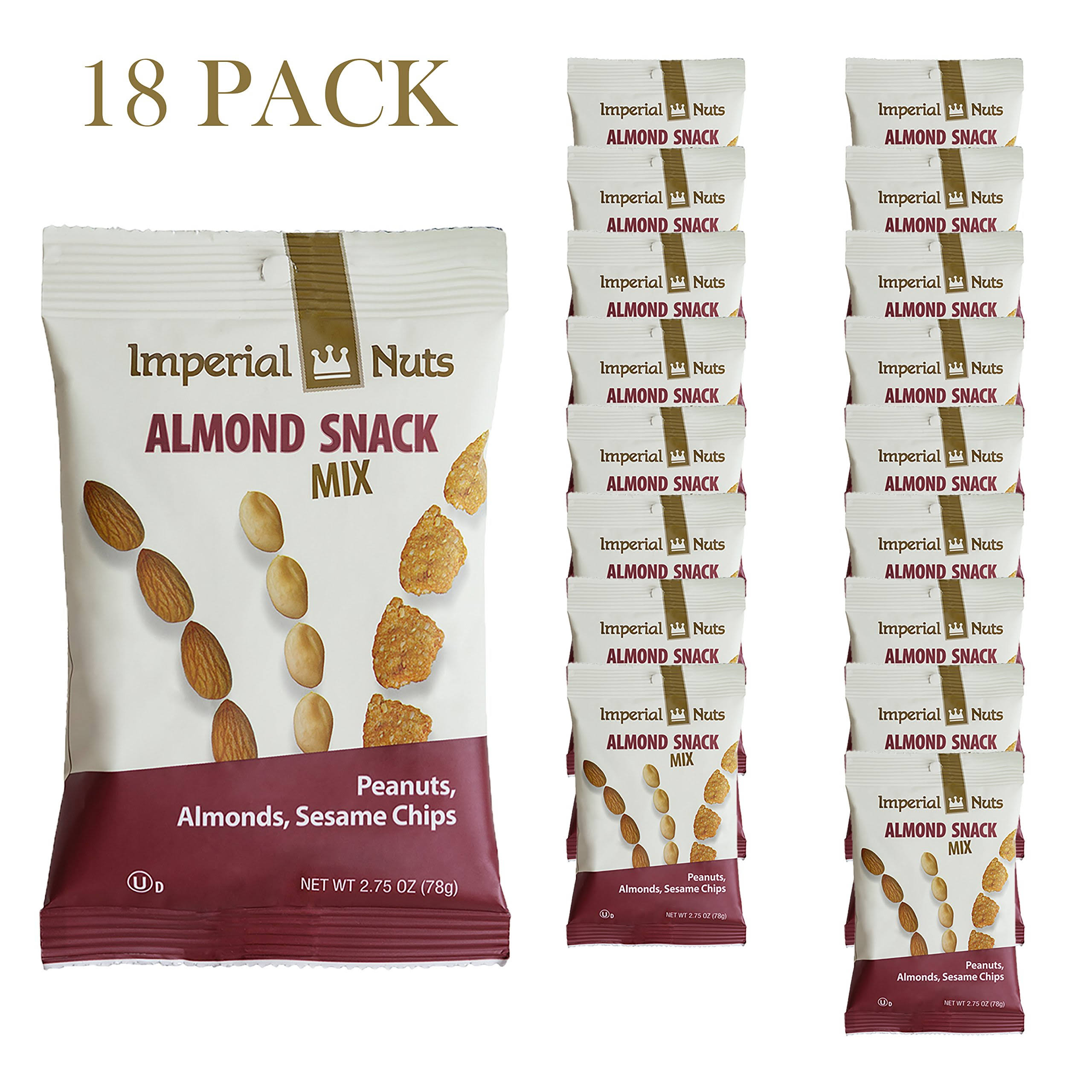 Imperial Nuts Almond Snack Mix (18 Pack x 2.75 oz) - Great Combination of Peanuts Almonds & Sesame Chips Perfect Mini Nut Snack Bags