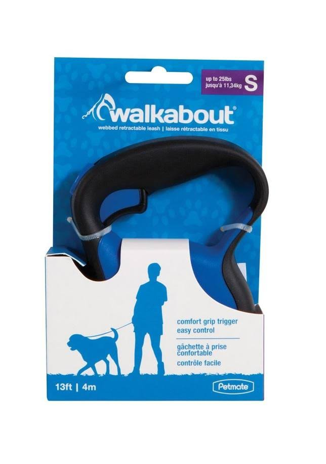 Petmate 02394 Walkabout Retractable Dog Leash - Blue, 12'x1.25""