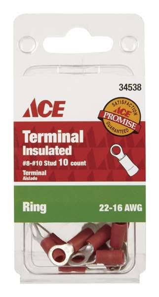Ace Industrial Ring Terminal Vinyl 10 Red(34538)
