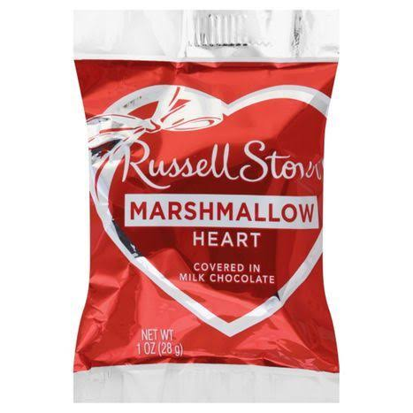 Russell Stover Marshmallow Heart In Milk Chocolate - 18pk