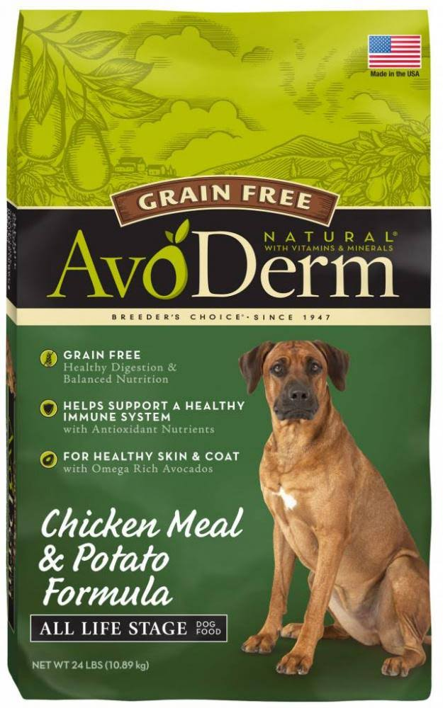 AvoDerm Grain Free Chicken & Vegetable Recipe Dry Dog Food - 24-lb