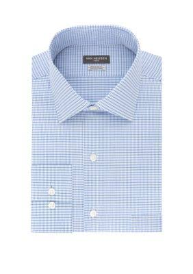 Van Heusen Men's Regular Fit Flex Check Dress Shirt - Blueberry - 16.5 32-33