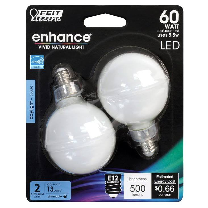 Feit Electric Enhance G16 5 Filament Led Dimmable Bulb - White, 5.5 Watts