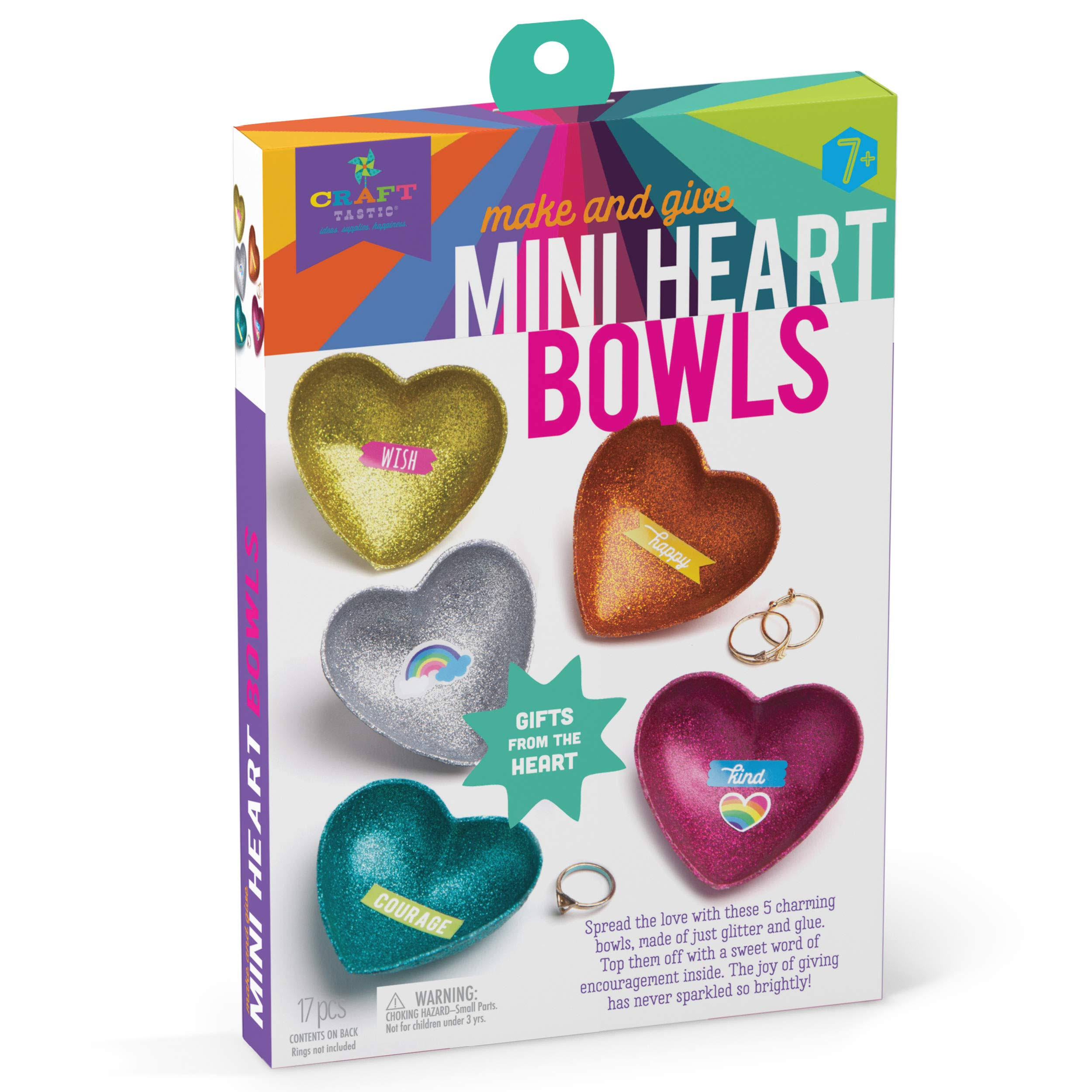 Craft-tastic – Mini Heart Bowls – Craft Kit Makes 5 Heart-Shaped Glitter Bowls to Decorate & Share