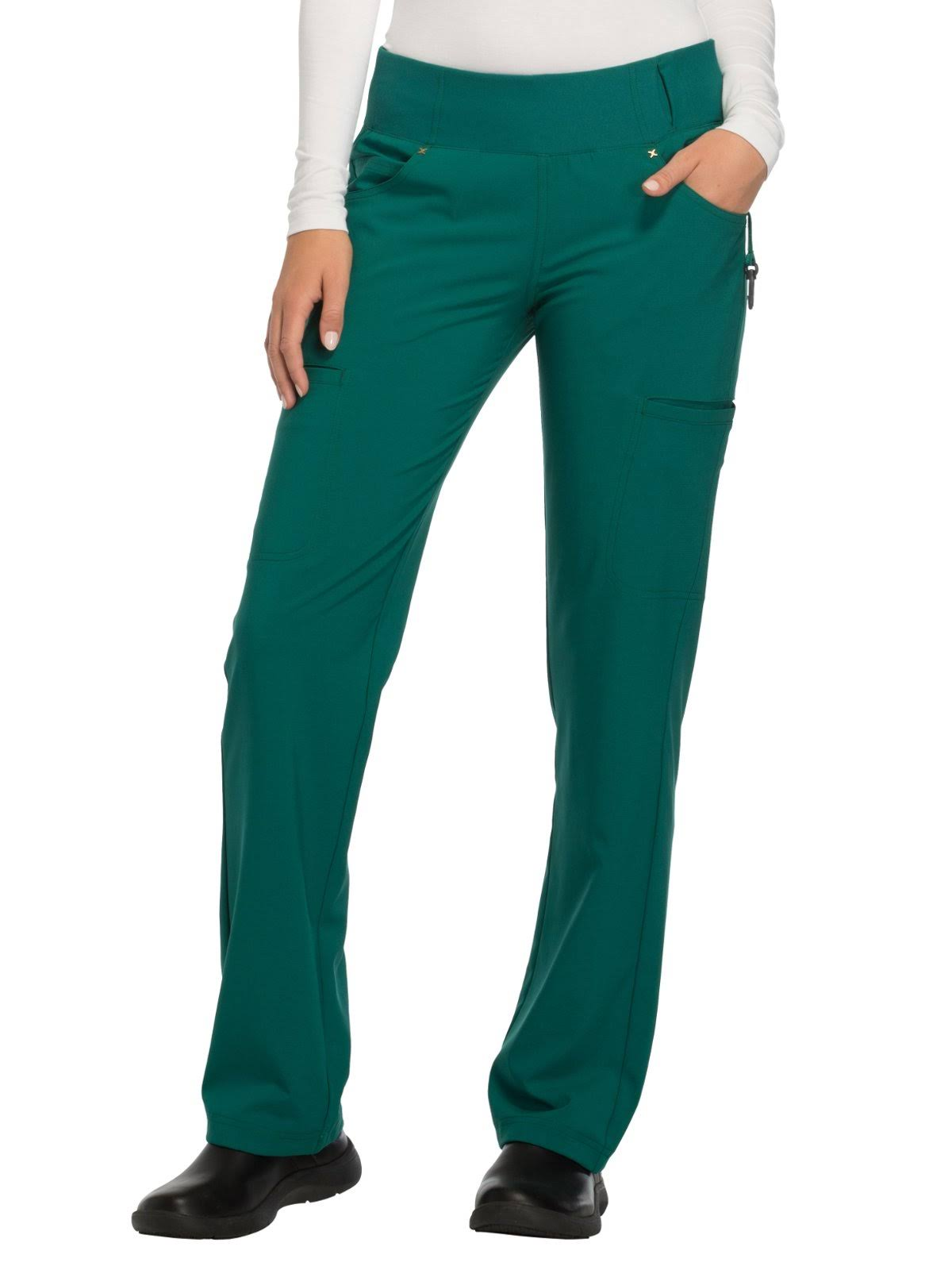 Cherokee CK002 Mid Rise Straight Leg Pull-On Pant - Hunter Green - S