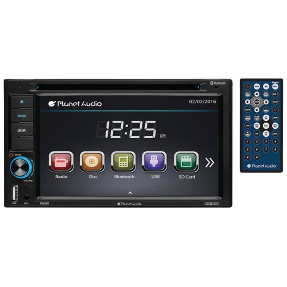 Planet Audio P9628B Double Din In-dash Touchscreen DVD Receiver - With Bluetooth, 6.2""