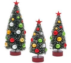 Bethlehem Lights Christmas Trees Qvc by Set Of 3 Graduated Bottle Brush Trees With Decorations Page 1