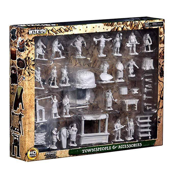 Wizkids Deep Cuts Unpainted Miniatures - Townspeople & Accessories