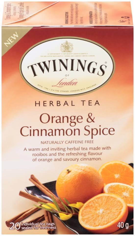 Twinings of London Orange Cinnamon Spice Herbal 20 Ct Tea Bags 40g Box