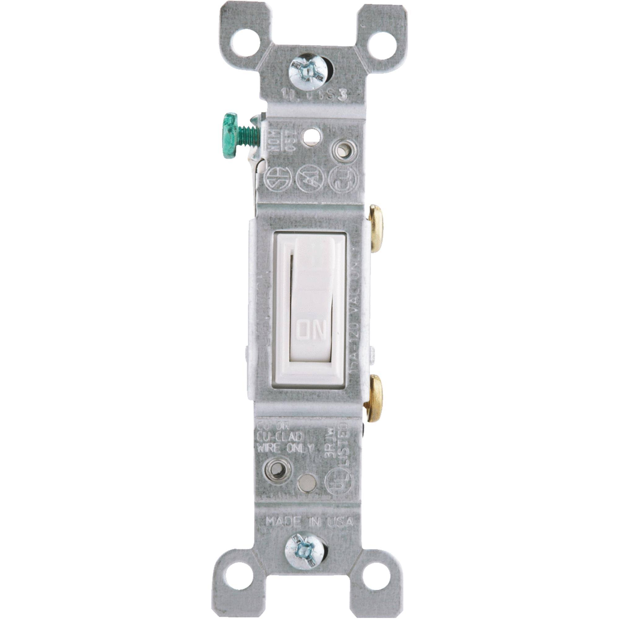 Leviton Toggle Switch - White, 15A, Single-Pole