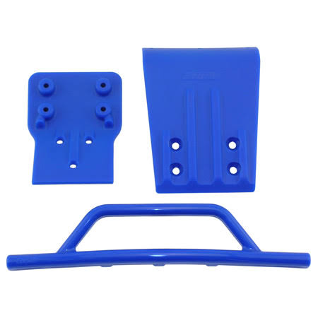 RPM Traxxas Slash Front Bumper and Skid Plate - Blue, 4x4