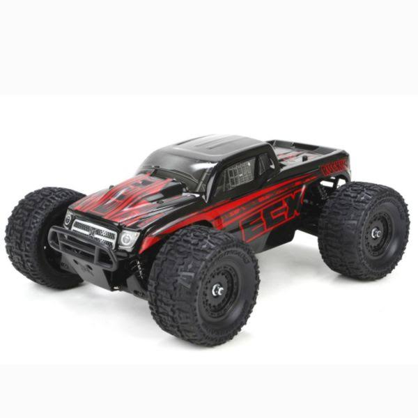 Ecx Ruckus 4WD RTR Monster Truck 1:18 Scale Model Kit - Black and Red