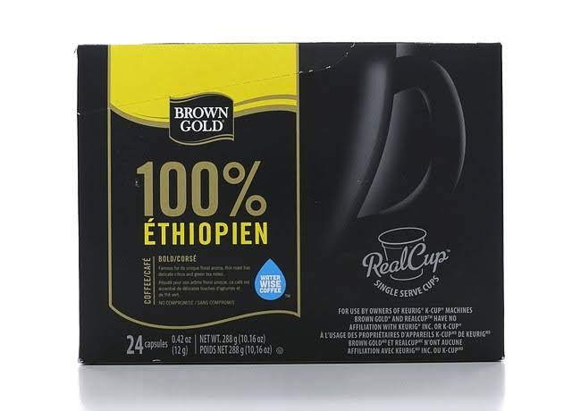 Brown Gold 100% Ethiopian Coffee RealCups  - 24 count