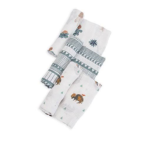 Little Unicorn Cotton Muslin Swaddle Blankets - x3, Bison, Brown, Green\