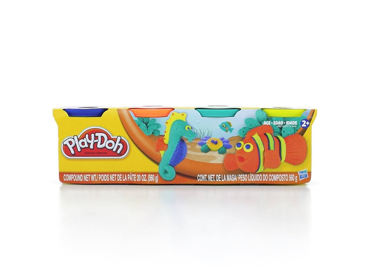 Play-Doh 4-Pack of Colors Blue, Orange, Teal & Neon Yellow - 20oz