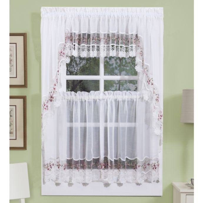 Vintage Embroidered Macrame Trim Tier Curtain White-Rose
