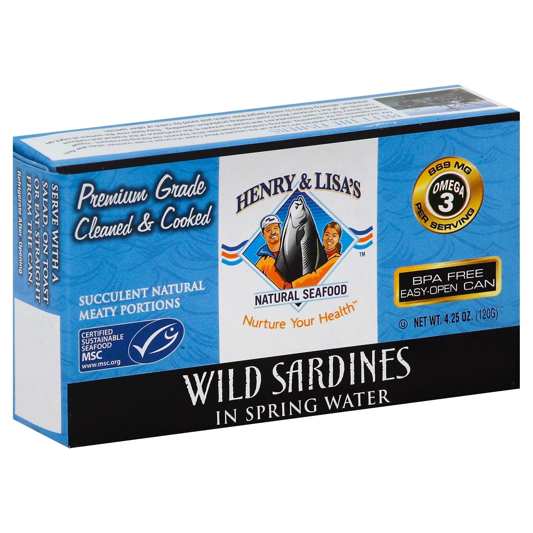 Henry and Lisa's Natural Seafood Wild Sardines - in Spring Water, 4.25oz