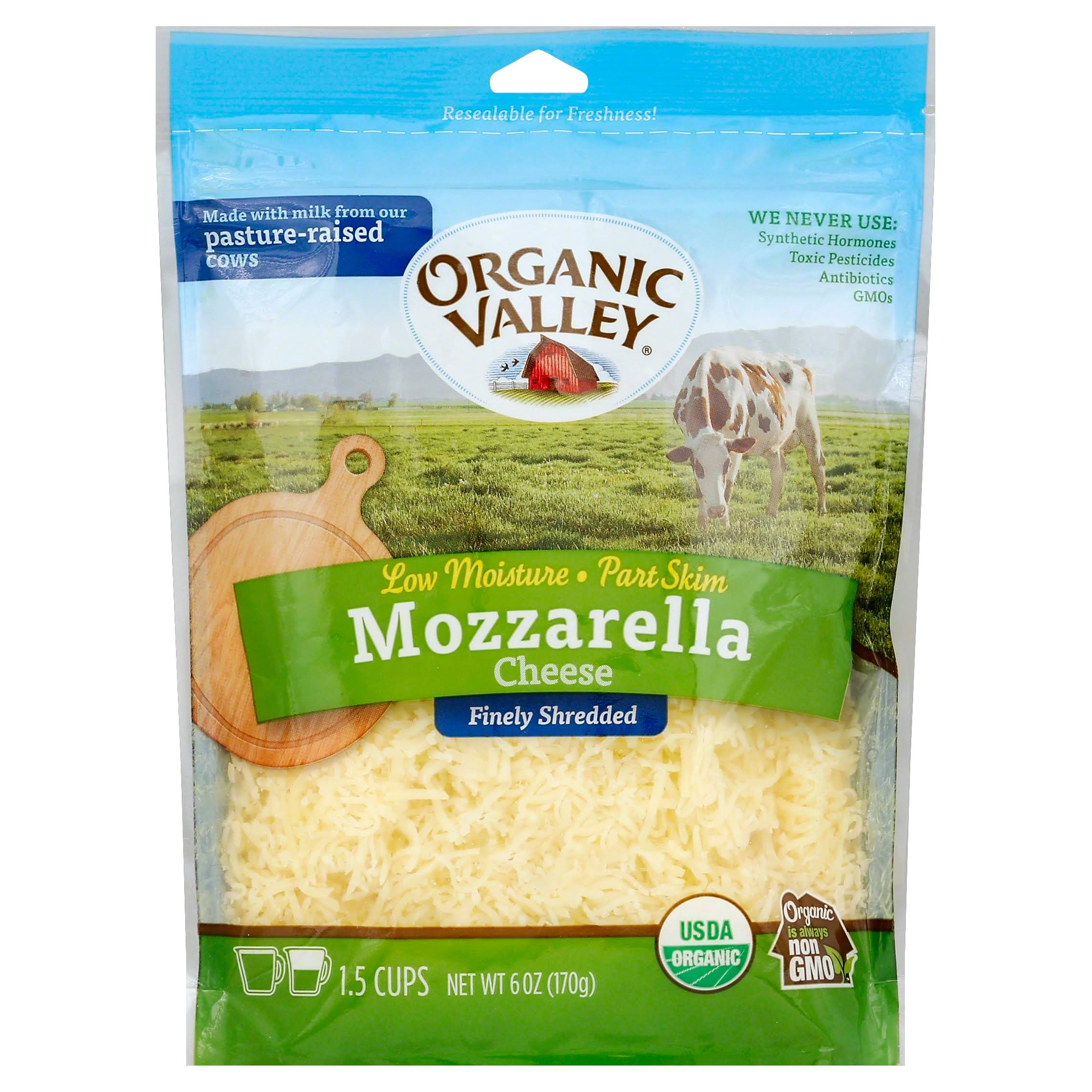 Organic Valley Cheese, Finely Shredded, Mozzarella, Low Moisture, Part Skim - 6 oz