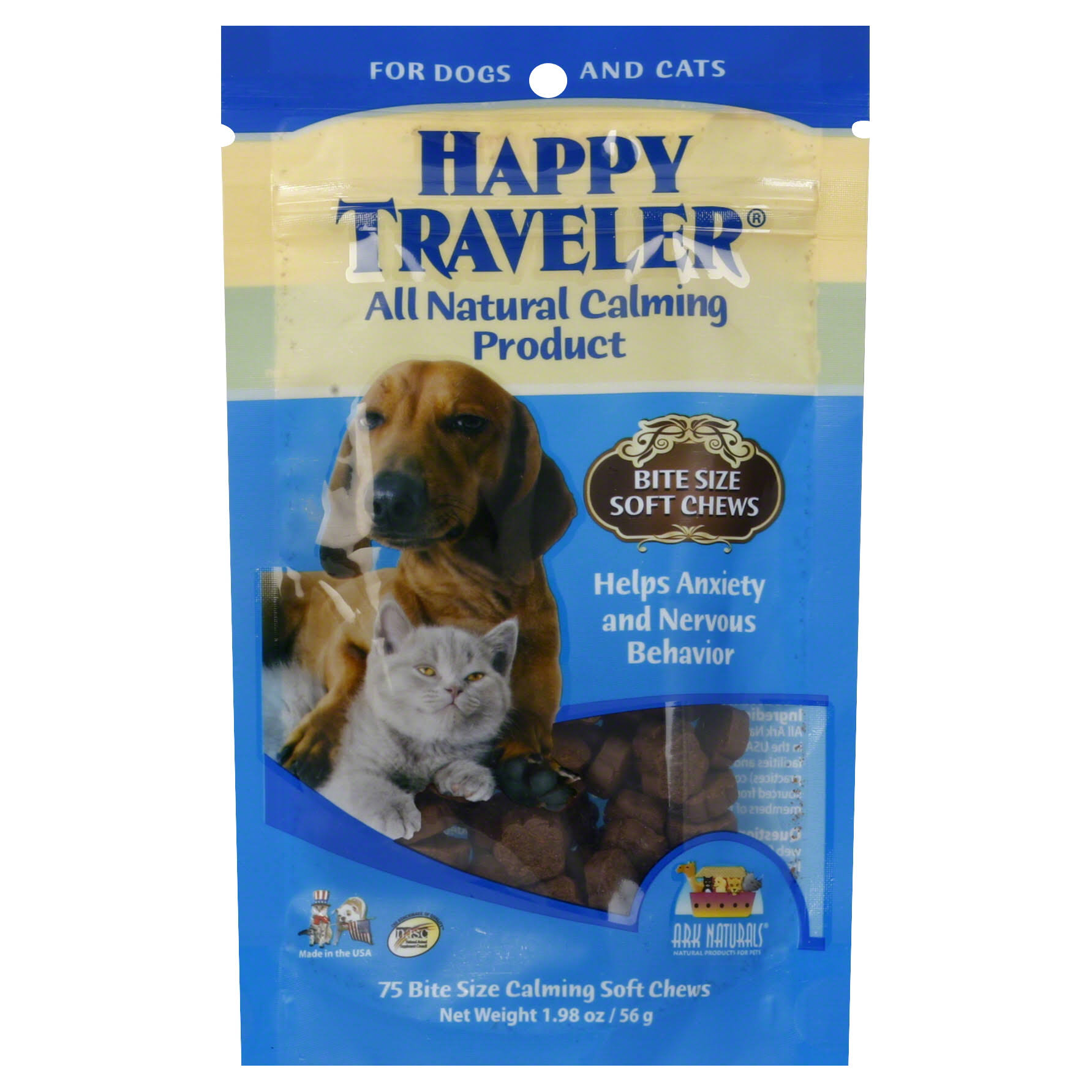 Ark Naturals Happy Traveler Calming Dog and Cat Chews - 75 Chewable Wafers
