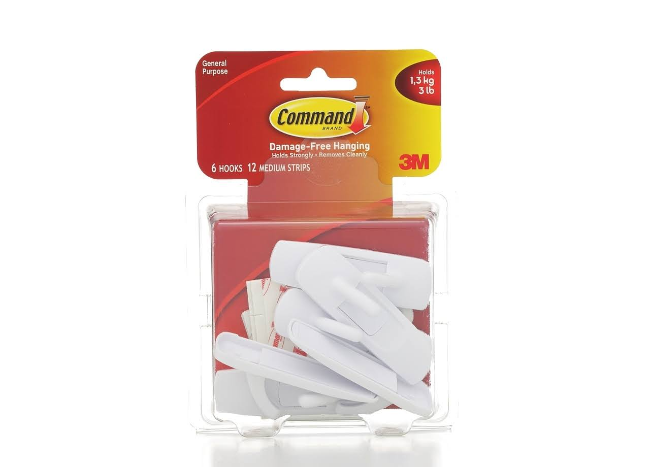 Command Medium Value Pack - Self-adhesive hook - white (pack of 6)