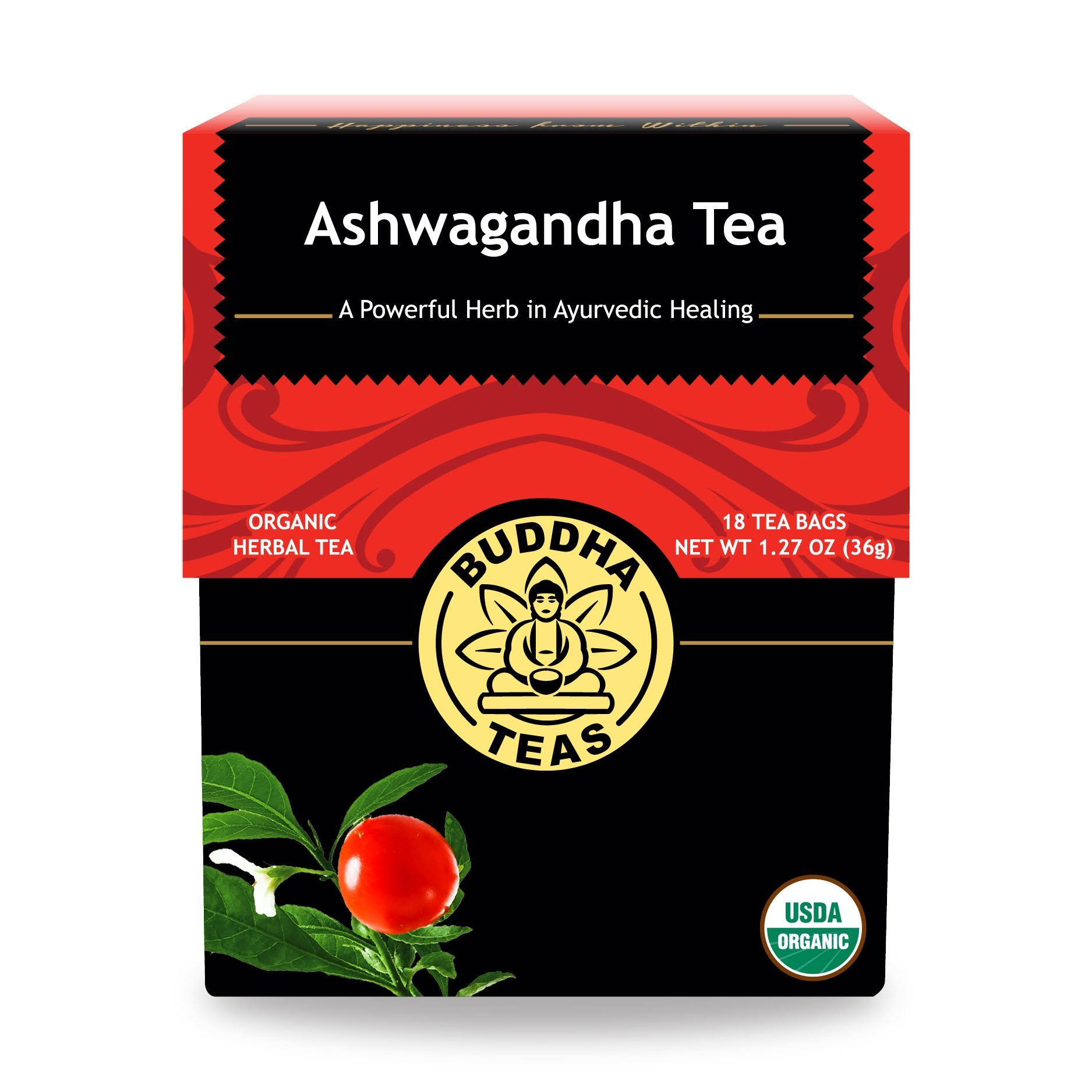 Buddha Teas Ashwagandha Root Herbal Tea - 18 tea bags